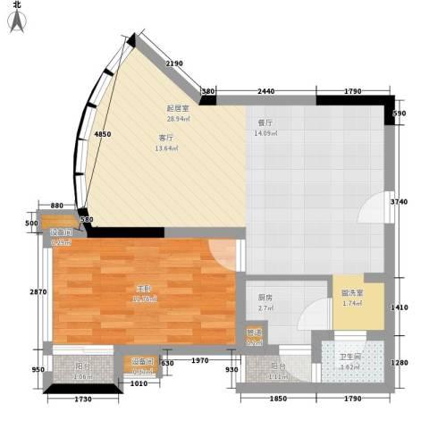 南滨国际1室0厅1卫1厨60.00㎡户型图