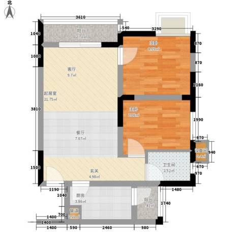 南滨国际2室0厅1卫1厨60.00㎡户型图