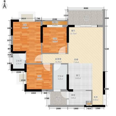桓大东方国际3室0厅2卫1厨93.51㎡户型图