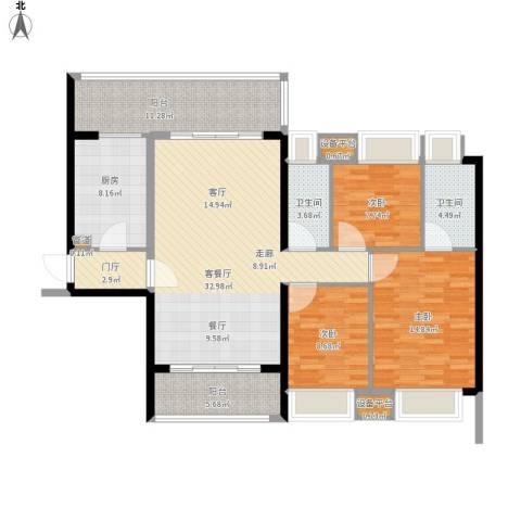 敏捷・锦绣明珠3室1厅2卫1厨145.00㎡户型图