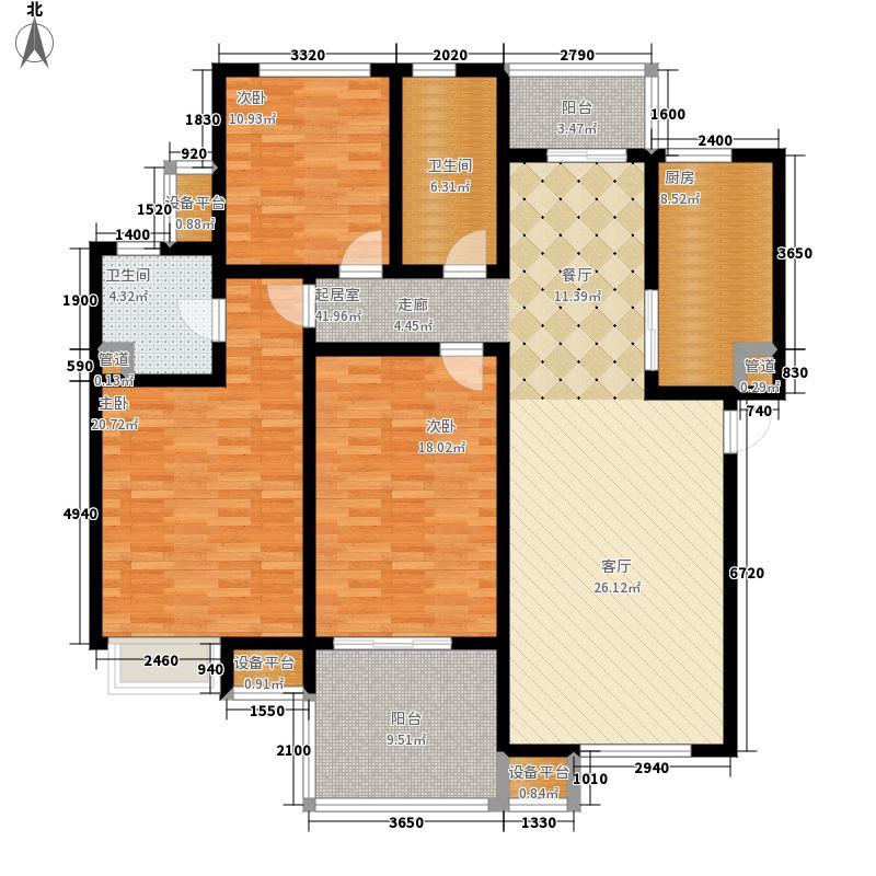 西上海·华府天地145.00㎡峰境户型3室2厅