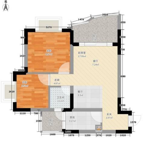 华宇林泉雅舍二期2室0厅1卫1厨66.00㎡户型图