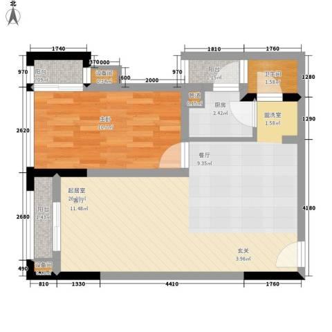 南滨国际1室0厅1卫1厨59.00㎡户型图
