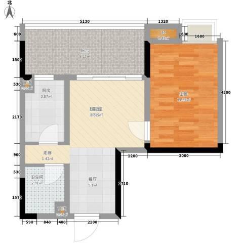 荣涛・丽苑1室0厅1卫1厨43.44㎡户型图
