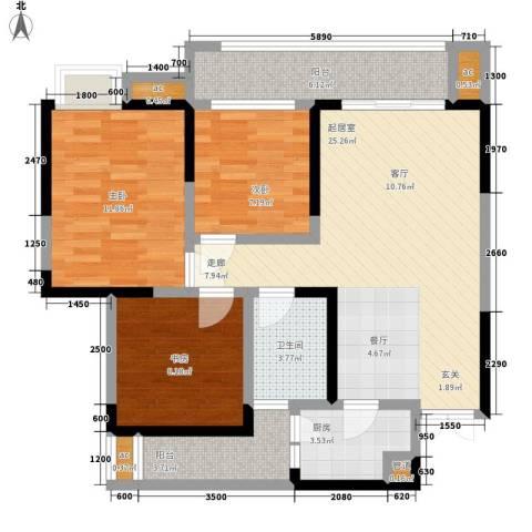 斗十千溯园3室0厅1卫1厨95.00㎡户型图