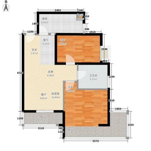 中兴财富国际公寓2室0厅1卫1厨72.92㎡户型图