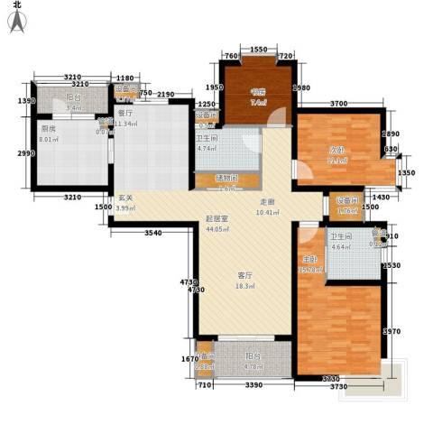 博泰景苑3室0厅2卫1厨125.00㎡户型图