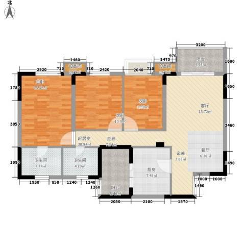 重庆天地雍江艺庭3室0厅2卫1厨107.00㎡户型图