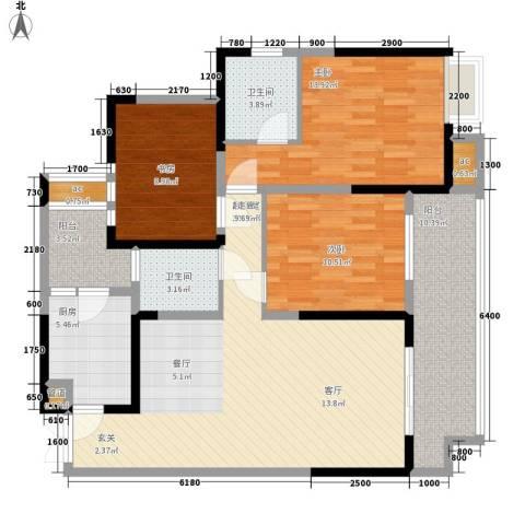 斗十千溯园3室0厅2卫1厨122.00㎡户型图