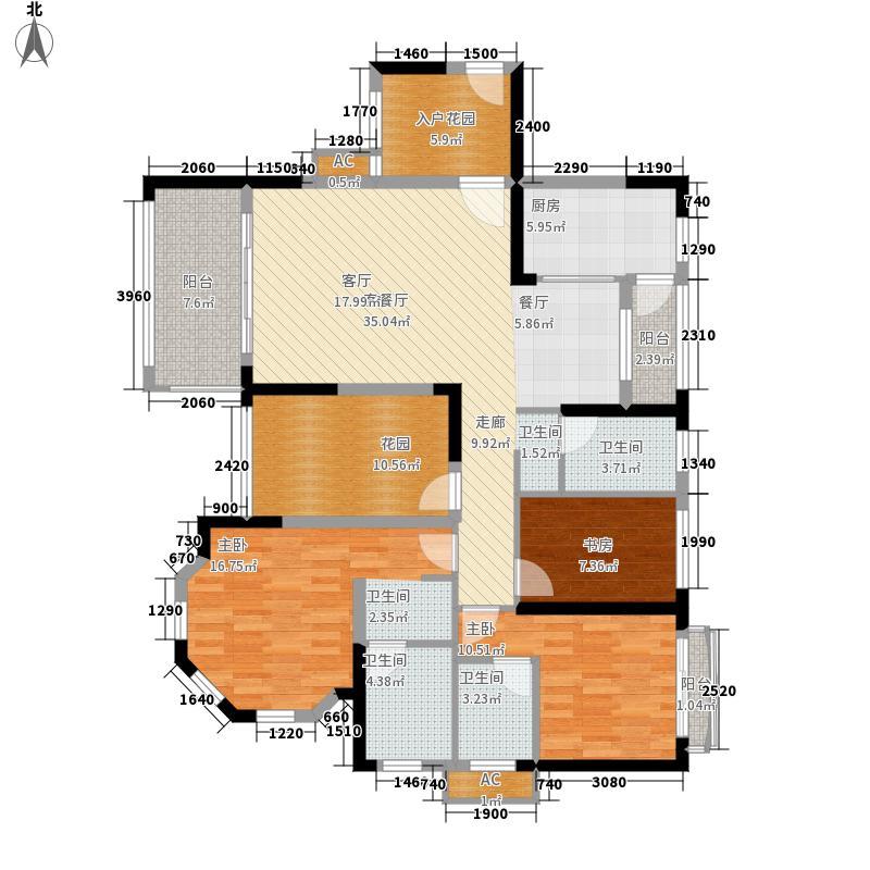康桥长郡142.00㎡E2户型2室2厅