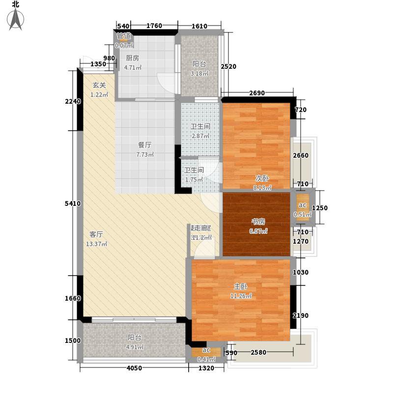 渝水坊二期80.48㎡一期2号楼1、2单元标准层2号房2室户型