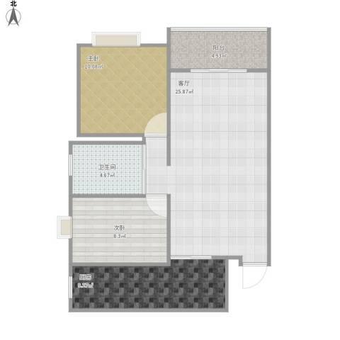 金色水岸花园2室1厅1卫1厨85.00㎡户型图