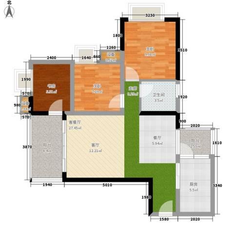 缤纷时代3室1厅1卫1厨80.92㎡户型图