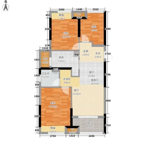 恒威国际城3室1厅1卫1厨88.00㎡户型图