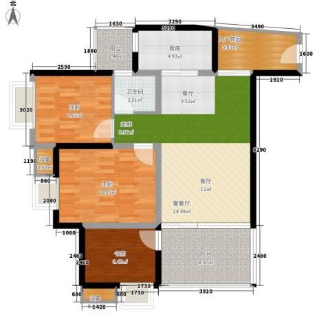缤纷时代3室1厅1卫1厨88.53㎡户型图