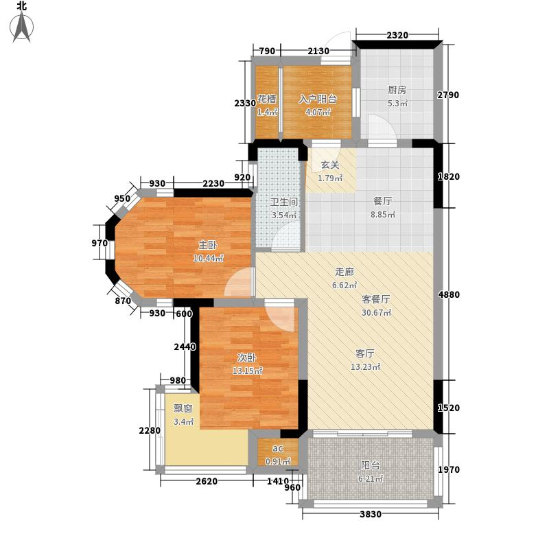 雍晟状元府邸两房两厅建筑面积约87.26平米户型