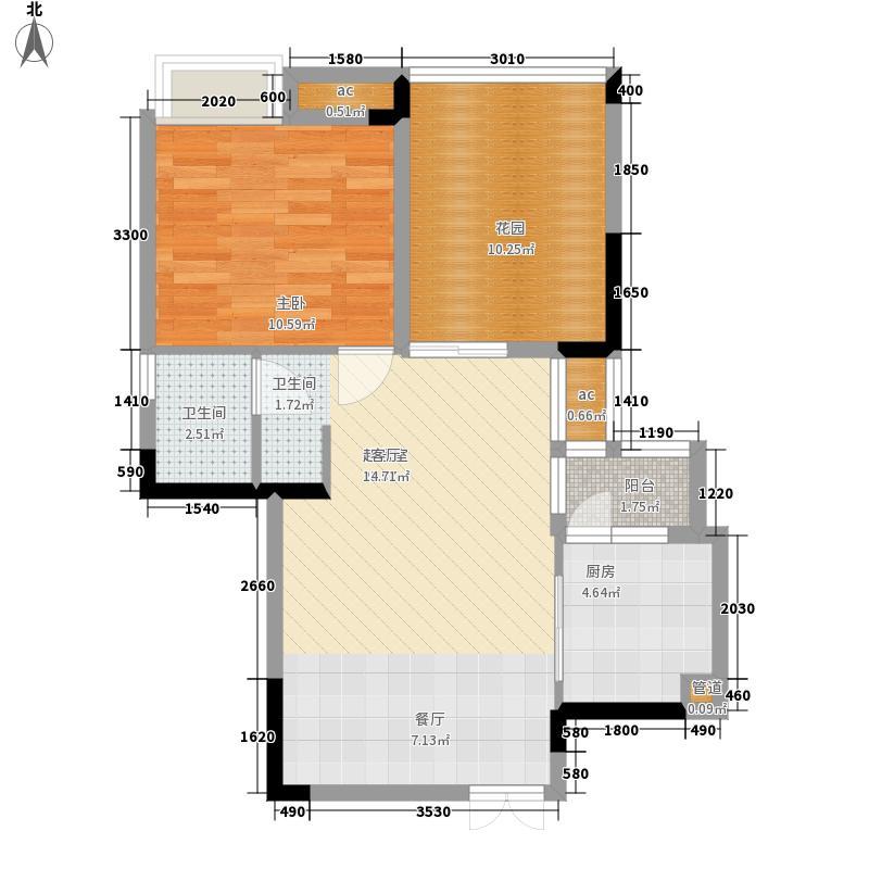 渝水坊二期53.11㎡一期1号楼1单元标准层1号房1室户型