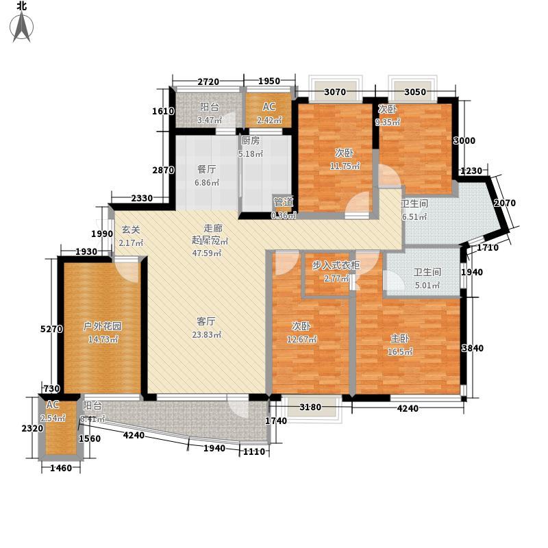 北辰三角洲169.52㎡D户型4室2厅