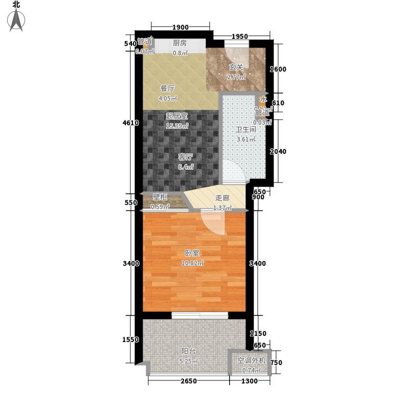 中信嘉丽泽48.00㎡1阳台B户型1室1厅
