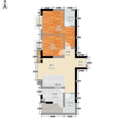 一城龙洲2室0厅2卫1厨68.00㎡户型图