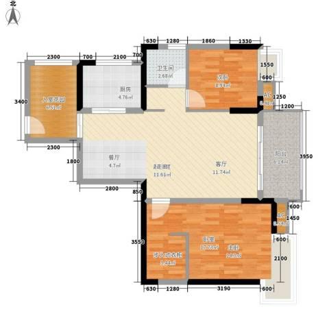 阳明佳城1室0厅1卫1厨77.00㎡户型图