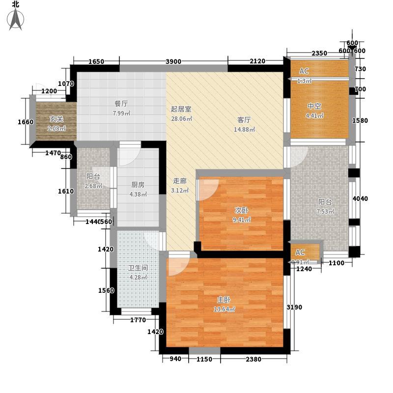龙城国际81.00㎡二期9号楼A4奇数层户型
