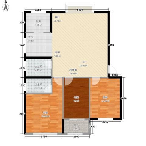 紫罗兰家苑3室0厅2卫1厨99.64㎡户型图