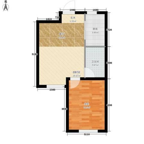阳光心屿1室0厅1卫1厨55.00㎡户型图
