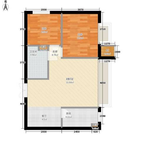 华联孔雀城2室0厅1卫1厨73.00㎡户型图