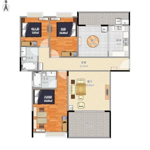 贝迪豪庭3室2厅2卫1厨136.00㎡户型图