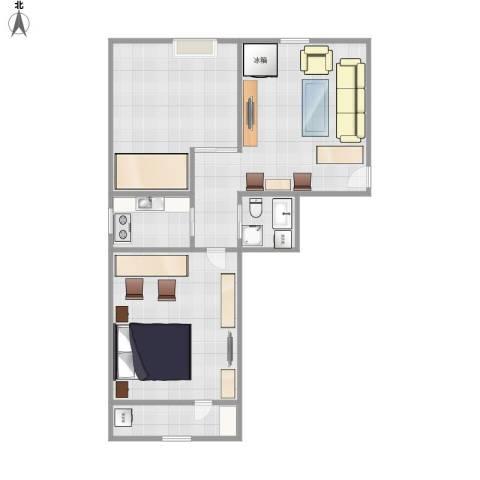 八里庄南里2室1厅1卫1厨68.00㎡户型图