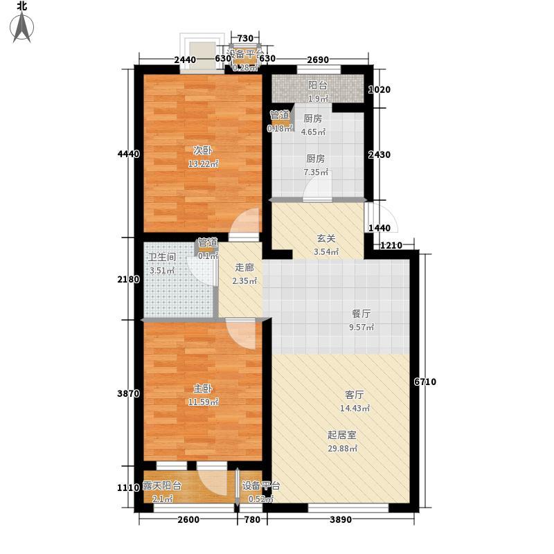 阿尔法社区88.00㎡二期2-4一层户面积8800m户型