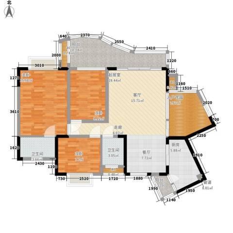 华宇渝州新都3室0厅2卫1厨114.00㎡户型图