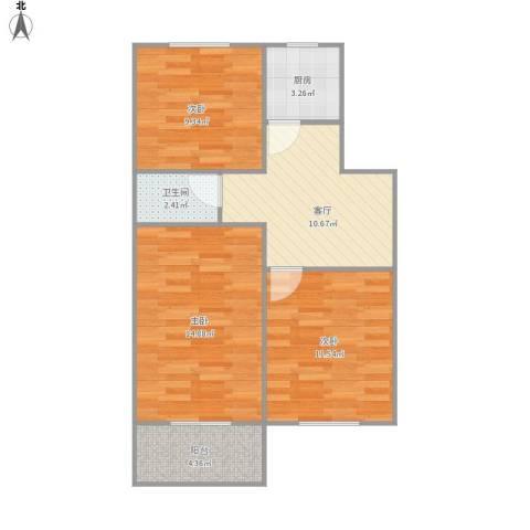 363836南环新村3室1厅1卫1厨76.00㎡户型图