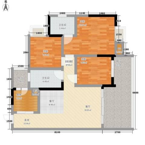荣涛・丽苑3室0厅2卫1厨83.00㎡户型图