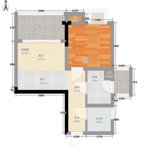 荣涛・丽苑1室0厅1卫1厨36.00㎡户型图