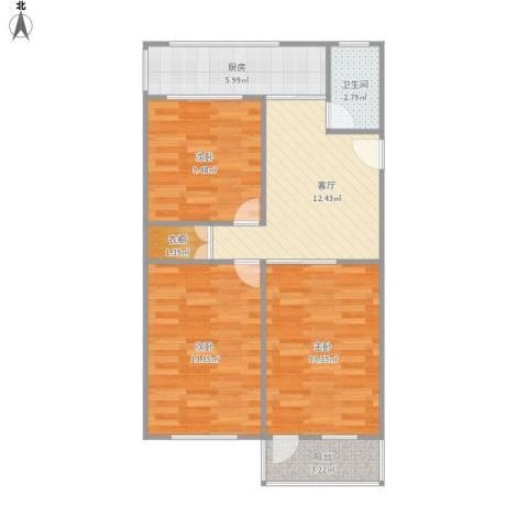 上海路3室1厅1卫1厨84.00㎡户型图