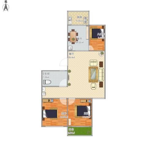 常青家园3室2厅1卫1厨133.00㎡户型图