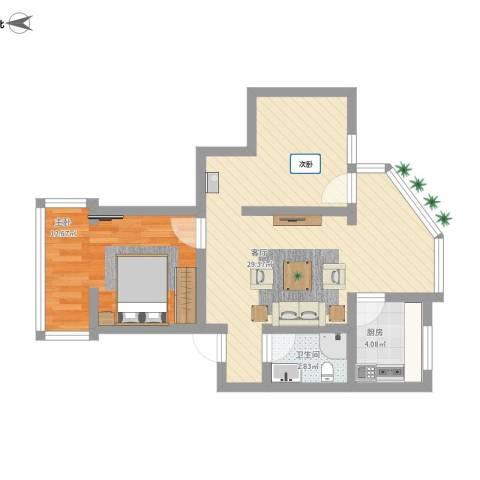 兴蓉南巷小区1室1厅1卫1厨72.00㎡户型图