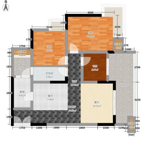 渝兴嘉悦山水3室1厅1卫1厨117.00㎡户型图