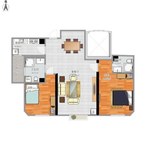 国耀上河城2室1厅2卫1厨96.00㎡户型图