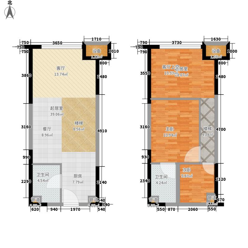 蓝润锦江春天54.00㎡1号楼LOFT公寓B标准层户型