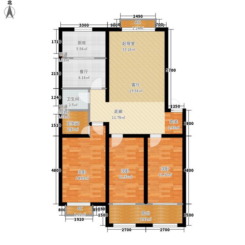 金榭巴黎120.00㎡二期多层H户型3室2厅