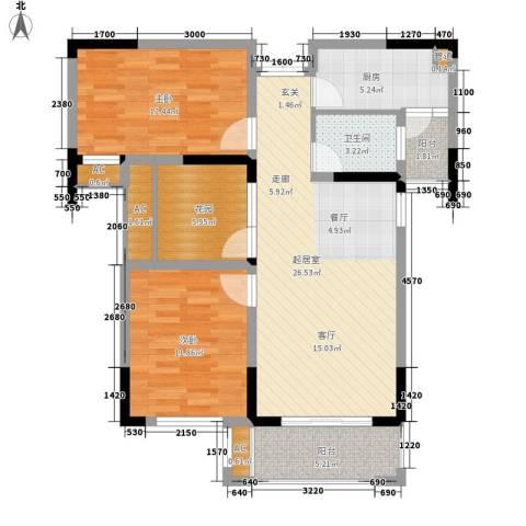 空港国际星城2室0厅1卫1厨89.00㎡户型图