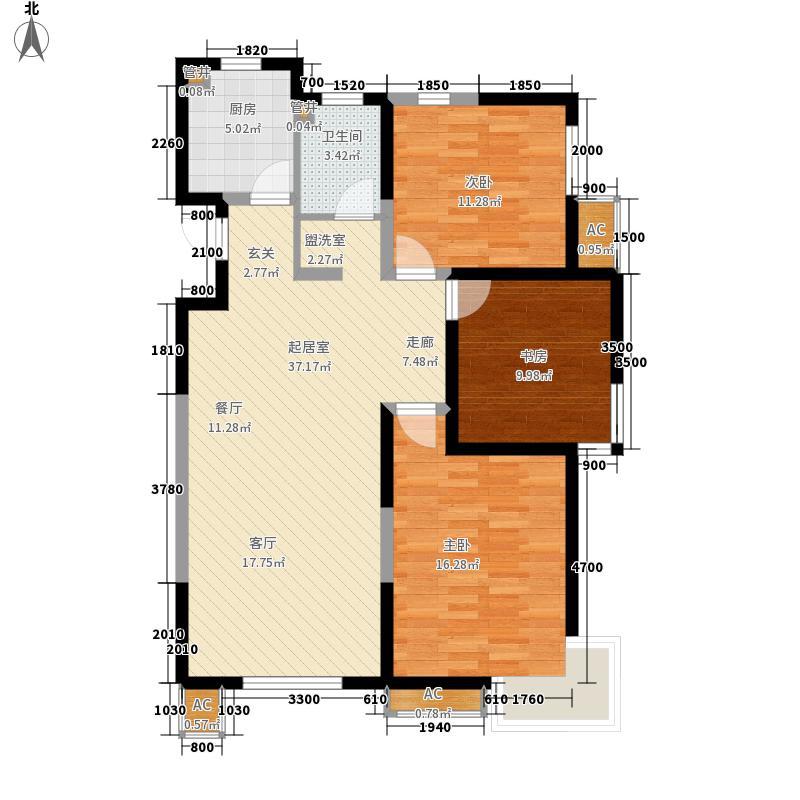 松江城·幸福山118.00㎡松江城高层3411#标准层D户型2室3厅