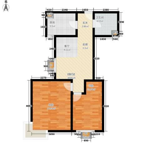 海尚都2室0厅1卫1厨91.00㎡户型图