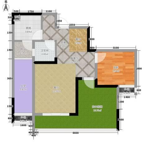 海德格调1室1厅1卫1厨64.00㎡户型图