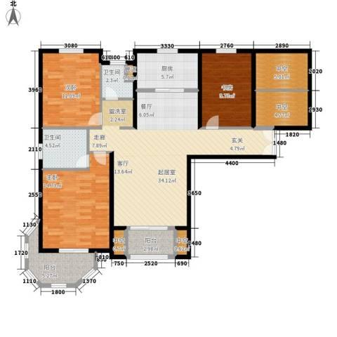 中南世纪城3室0厅2卫1厨136.00㎡户型图