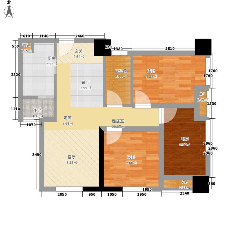 恒河广场83.00㎡一期住宅楼标准层B户型