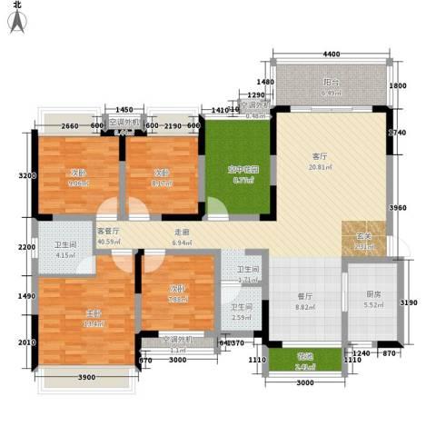 潇湘名城4室1厅2卫1厨163.00㎡户型图